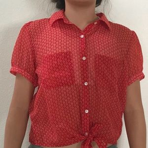 Forever 21 Red Floral Short Sleeve Front Tie Top